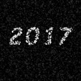 Happy New Year 2017 made of shiny stars.  Simple seamless black and white illustration. Royalty Free Stock Image
