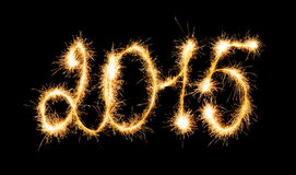 Happy New Year 2015 made a sparkler. Happy New Year - 2015 made a sparkler Stock Photography