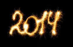 Happy New Year - 2014 made a sparkler Royalty Free Stock Image