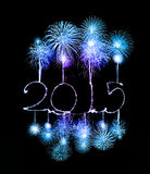 Happy New Year - 2015 made a sparkler. With fireworks Royalty Free Stock Photos