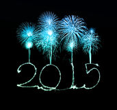 Happy New Year - 2015 made a sparkler Royalty Free Stock Photos