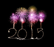 Happy New Year - 2015 made a sparkler Royalty Free Stock Image