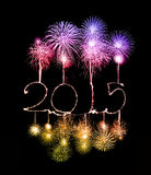 Happy New Year - 2015 made a sparkler. With fireworks Royalty Free Stock Photography