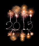 Happy New Year - 2015 made a sparkler. With fireworks Royalty Free Stock Image