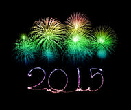 Happy New Year - 2015 made a sparkler. With fireworks stock illustration