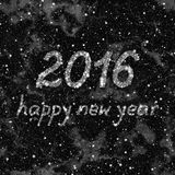 Happy New Year 2016 made of stars.  Abstract black and white background.  Seamless illustration. Royalty Free Stock Images