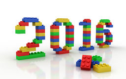 Happy new year 2016 made of toy blocks. 3d illustration Royalty Free Stock Photo