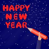 Happy New Year. A Man holds a pen and writes words on the Blue Background. Flat Ilustration. Happy New Year. A Man holds a pen and writes words on the Blue vector illustration