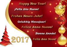 Happy New Year 2017 in many languages Stock Photo