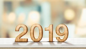 Happy new year 2019 on marble table with pale soft bokeh wall,banner for display or montage of product for holiday promotion and royalty free stock photos