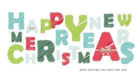 Happy New Year and Marry Christmas banner. Paper cut out letters decorated with golden bow. Vector Stock Images