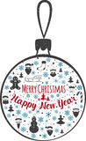 Happy New Year and Marry Christmas. Christmas toy. Vector illustration Royalty Free Stock Images