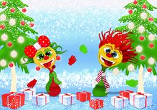 Happy New Year and Marry Christmas with girl and boy stock illustration