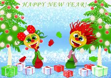 Happy New Year and Marry Christmas with girl and boy vector illustration