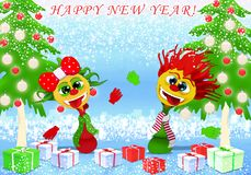 Happy New Year and Marry Christmas with girl and boy royalty free illustration