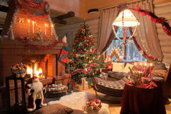 Happy new year and x-mas. In wooden house Stock Images