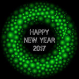 Happy 2017 new year massage. Abstract round border. Cell backgro. Und. Green balls. Molecular structure Royalty Free Stock Images