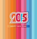 Happy New Year 2015. Mechanical flip clock design in the process of the flip Stock Photos
