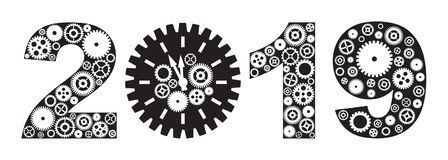 Happy New Year 2019 with Gears vector Illustration. Happy New Year 2019 with Mechanical Gears and Clock Black and White vector Illustration stock illustration