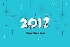 Happy New Year 2017. Memphis Style Text Design. Flat Vector Illustration. Royalty Free Stock Photography