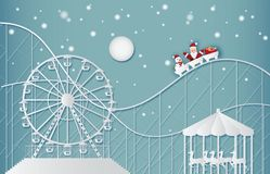 Happy new year and Merry christmas on amusement park . royalty free illustration