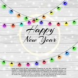 Happy New Year 2018 and Merry Christmas background with bokeh effect. Elegant christmas background with snowflakes. Sparkles, boards and garlands. Led neon Stock Photos