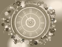 Happy New Year and Merry Christmas background with clock. Gray and silver stock illustration
