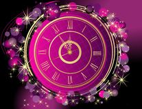 Happy New Year and Merry Christmas background with clock. Pink and gold vector illustration