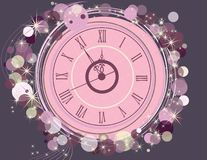 Happy New Year and Merry Christmas background with clock. Pink and gold royalty free illustration