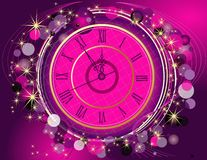 Happy New Year and Merry Christmas background with clock. Pink and gold Royalty Free Stock Photography