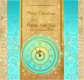 Happy New Year and Merry Christmas background with clock. Happy New Year and Merry Christmas vintage background with clock vector illustration