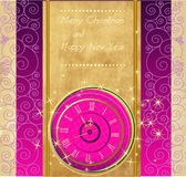 Happy New Year and Merry Christmas background with clock. Happy New Year and Merry Christmas vintage background with clock stock illustration