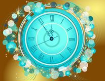 Happy New Year and Merry Christmas background with clock. Happy New Year and Merry Christmas vintage background with clock royalty free illustration