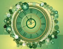 Happy New Year and Merry Christmas background with clock. Happy New Year and Merry Christmas vintage background with clock Stock Photos