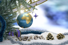 Happy New Year and Merry Christmas background with earth. And peace word Stock Photos