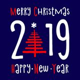 Happy new year 2019 and merry Christmas Background. Greeting Card Design Template. Illustration stock illustration