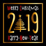 Happy new year 2019 and merry Christmas Background. Greeting Card Design Template. Vector, Illustration royalty free illustration