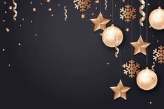 Happy New Year and Merry Christmas background. Star, snowflake, Christmas ball and confetti holiday composition on black background Stock Photography