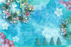Happy New Year and Merry Christmas background. Holiday celebration concept. Can be used for invitation or greeting card.  royalty free illustration