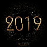 Happy New Year and Merry Christmas background with modern gold text. Vector.  vector illustration