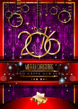2016 Happy New Year and Merry Christmas Background. For Seasonal Greetings Cards, Parties Flyer Stock Photography