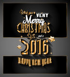 2016 Happy New Year and Merry Christmas  Background. For Seasonal Greetings Cards, Parties Flyer, Dineer Event Invitations, Xmas Cards and sp on Stock Image