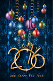 2016 Happy New Year and Merry Christmas Background. For Seasonal Greetings Cards, Parties Flyer, Dineer Event Invitations, Xmas Cards and sp on Royalty Free Illustration