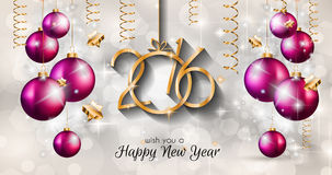 2016 Happy New Year and Merry Christmas Background. For Seasonal Greetings Cards, Parties Flyer, Dinner Event Invitations, Xmas Cards and so on Stock Illustration