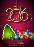 2016 Happy New Year and Merry Christmas Background. For Seasonal Greetings Cards, Parties Flyer, Dinner Event Invitations, Xmas Cards and sp on Stock Image