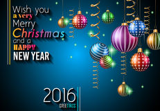 2016 Happy New Year and Merry Christmas Background Stock Photos