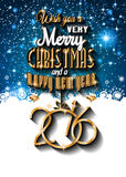 2016 Happy New Year and Merry Christmas Background. For Seasonal Greetings Cards, Parties Flyer, Dinner Event Invitations, Xmas Cards and sp on Royalty Free Stock Photos