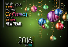 2016 Happy New Year and Merry Christmas Background. For Seasonal Greetings Cards, Parties Flyer, Dinner Event Invitations, Xmas Cards and sp on Stock Photos