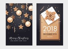 Happy New Year and Merry Christmas background. Star, snowflake, Christmas ball and confetti holiday composition on black background Royalty Free Stock Photos