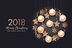 Happy New Year and Merry Christmas background. Star, snowflake, Christmas ball and confetti holiday composition on black background Stock Photos